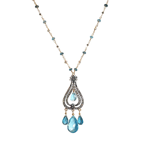 Swiss and London Blue Topaz and Diamonds