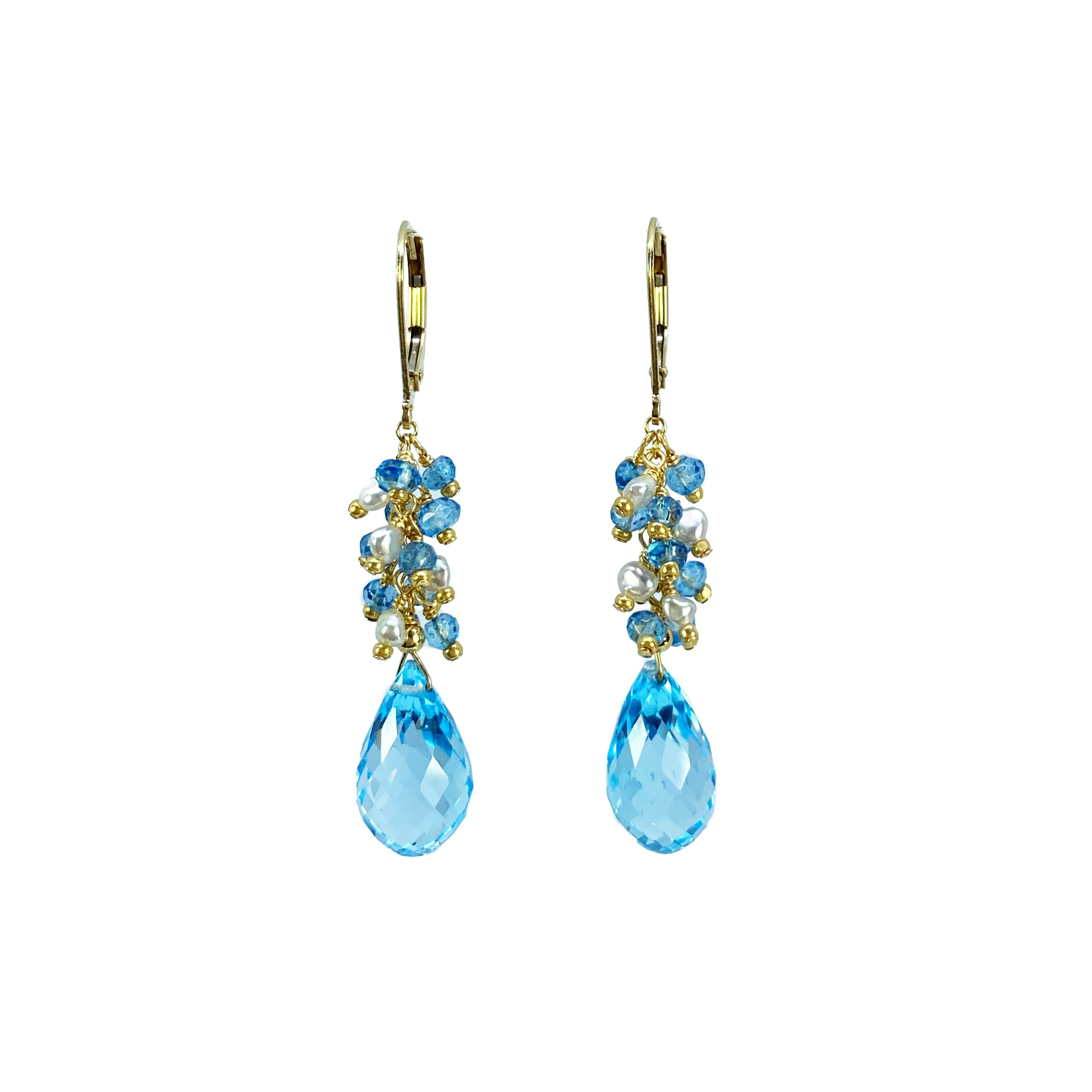 Blue Topaz and Akoya Keshi Pearls