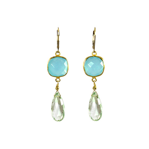 Prasiolite (Green Amethyst) and Chalcedony Earrings