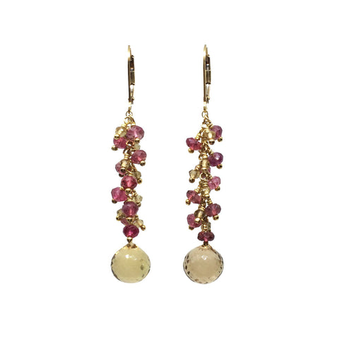 Garnet Citrine Earrings
