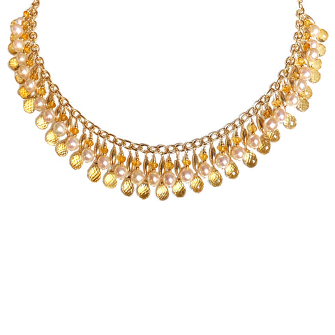 Cleopatra Citrine and Pearl Necklace