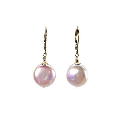Lustrous Coin Pearl Earrings
