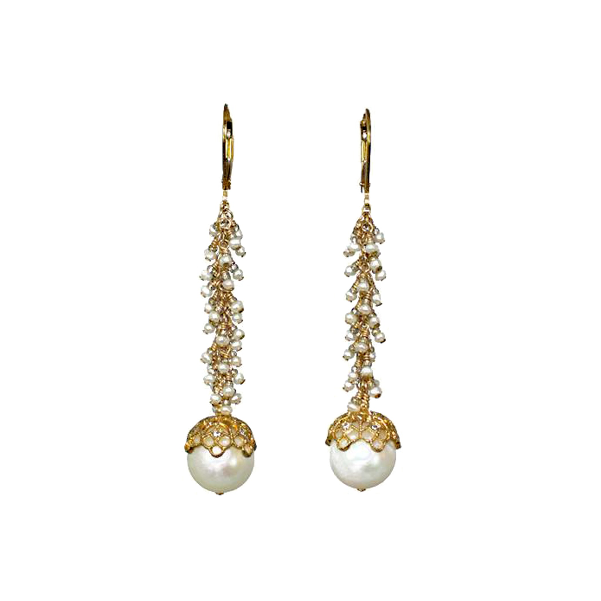 Crown 11mm Pearl Earrings with small pearl clusters