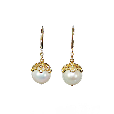 11mm Crowned Pearl Earrings