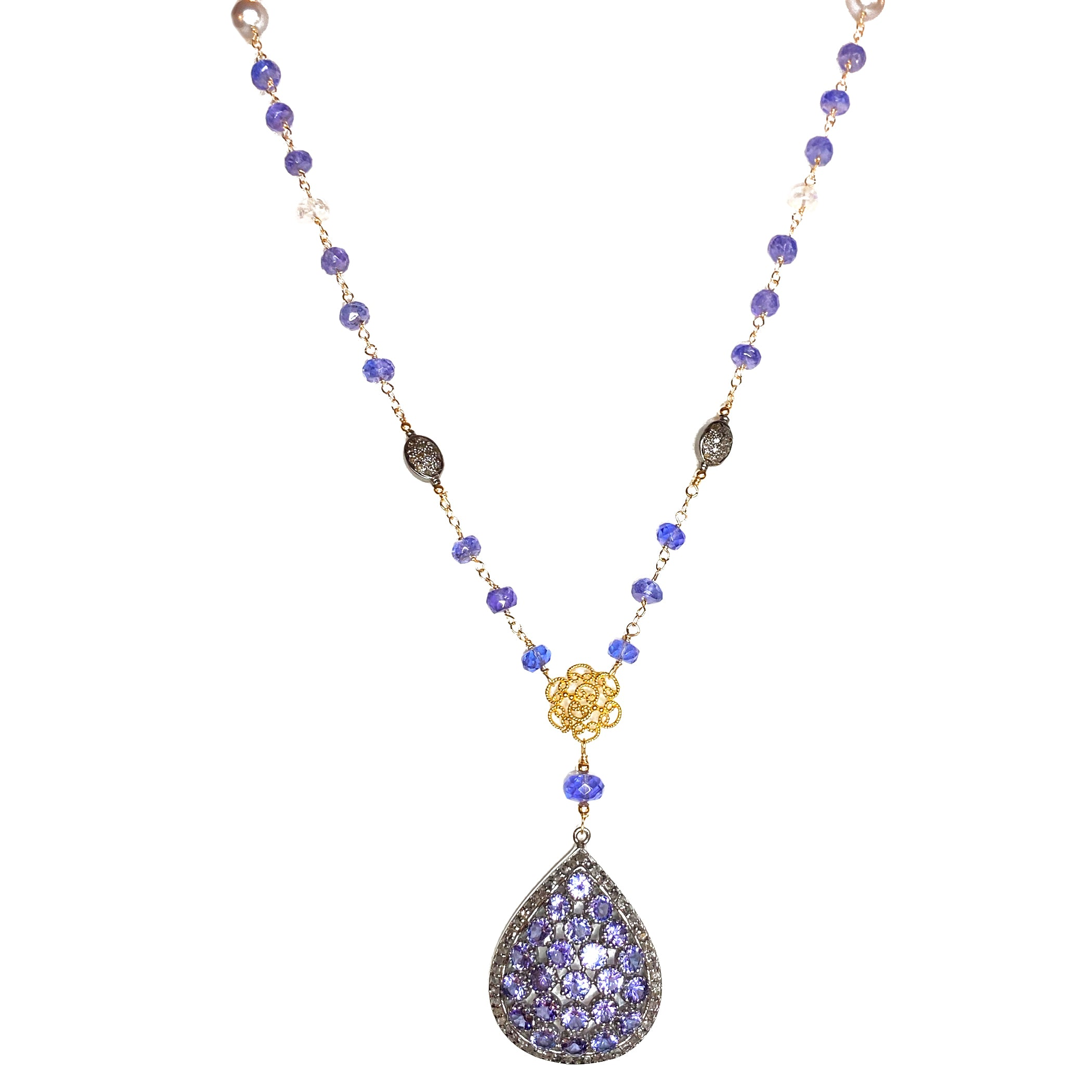 Tanzanite, Diamonds, and Moonstone