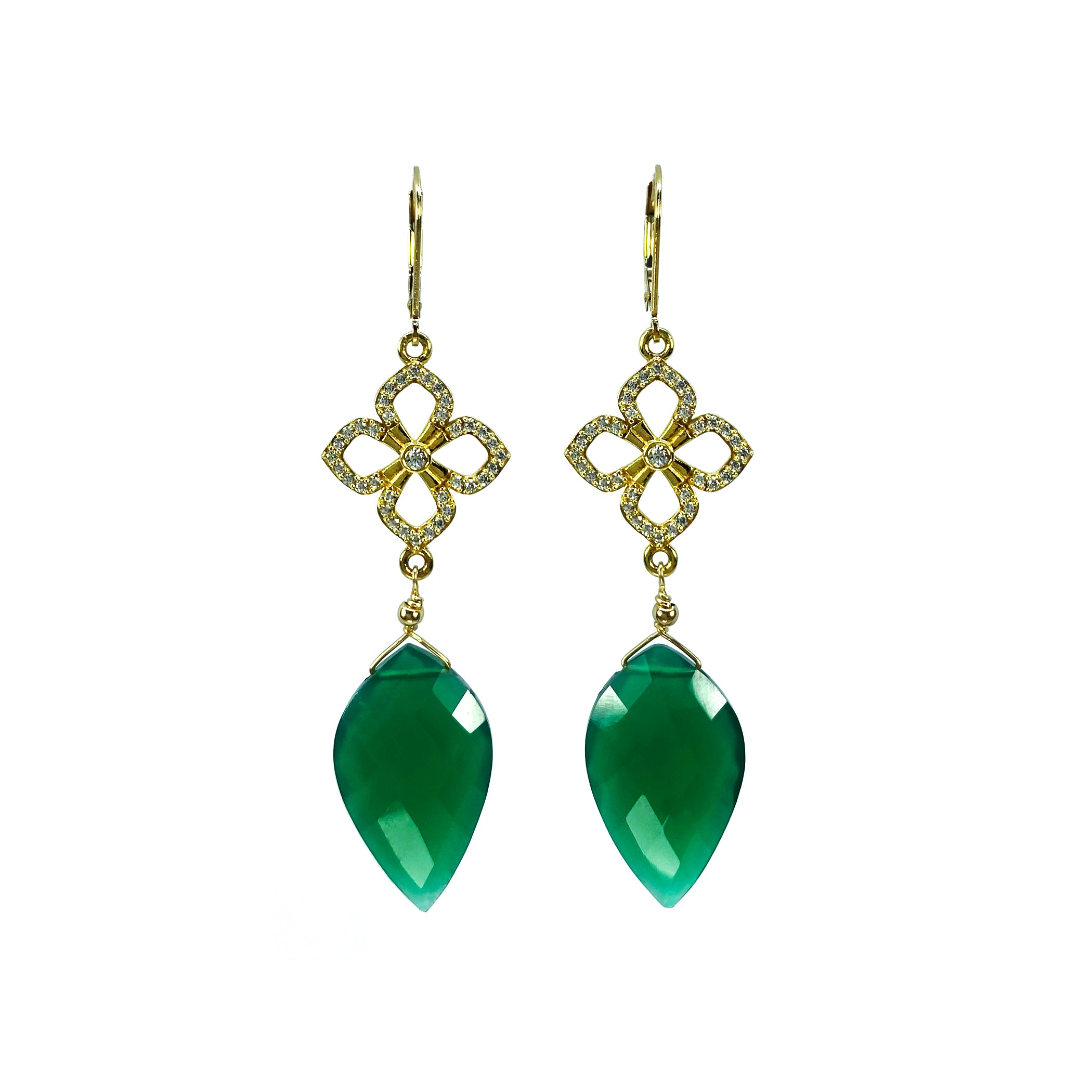 Green Onyx and Pave white Topaz