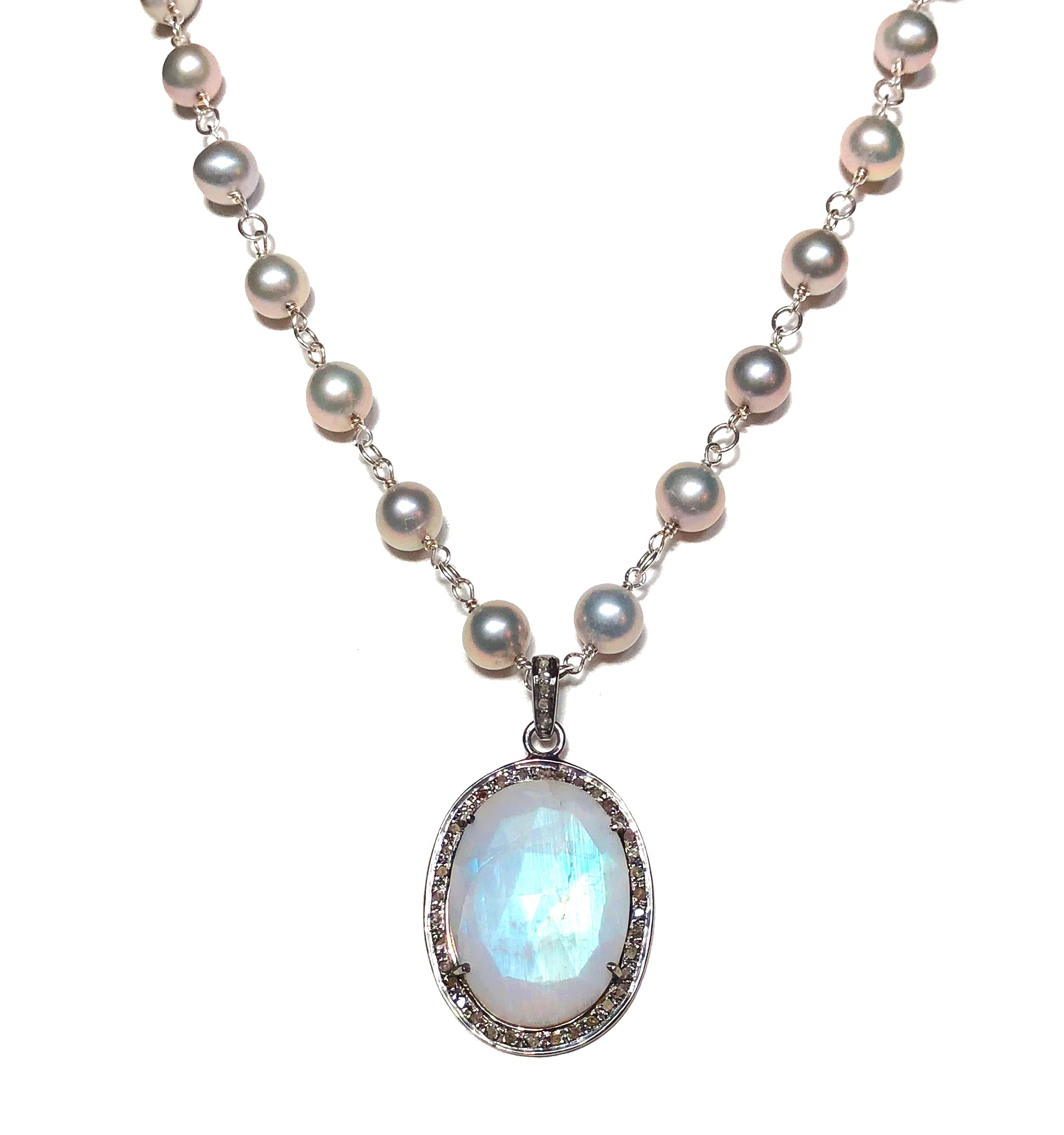 Pave Diamonds, Moonstone and Pearls