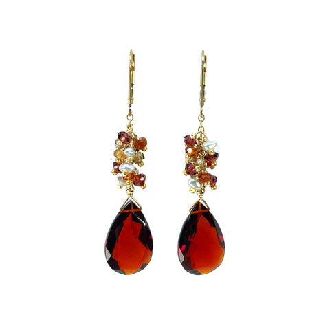 Hessonite Spessartine Garnets and Akoya Keshi Pearls