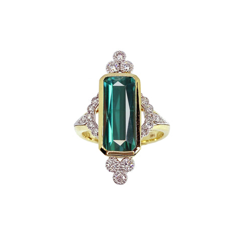 Indicolite Tourmaline and Diamonds in 14K yellow and white gold