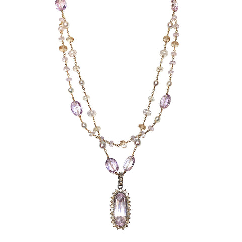 Kunzite and Diamond Necklace