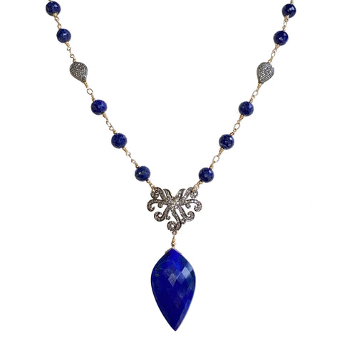 Lapis Lazuli and Pave Diamonds