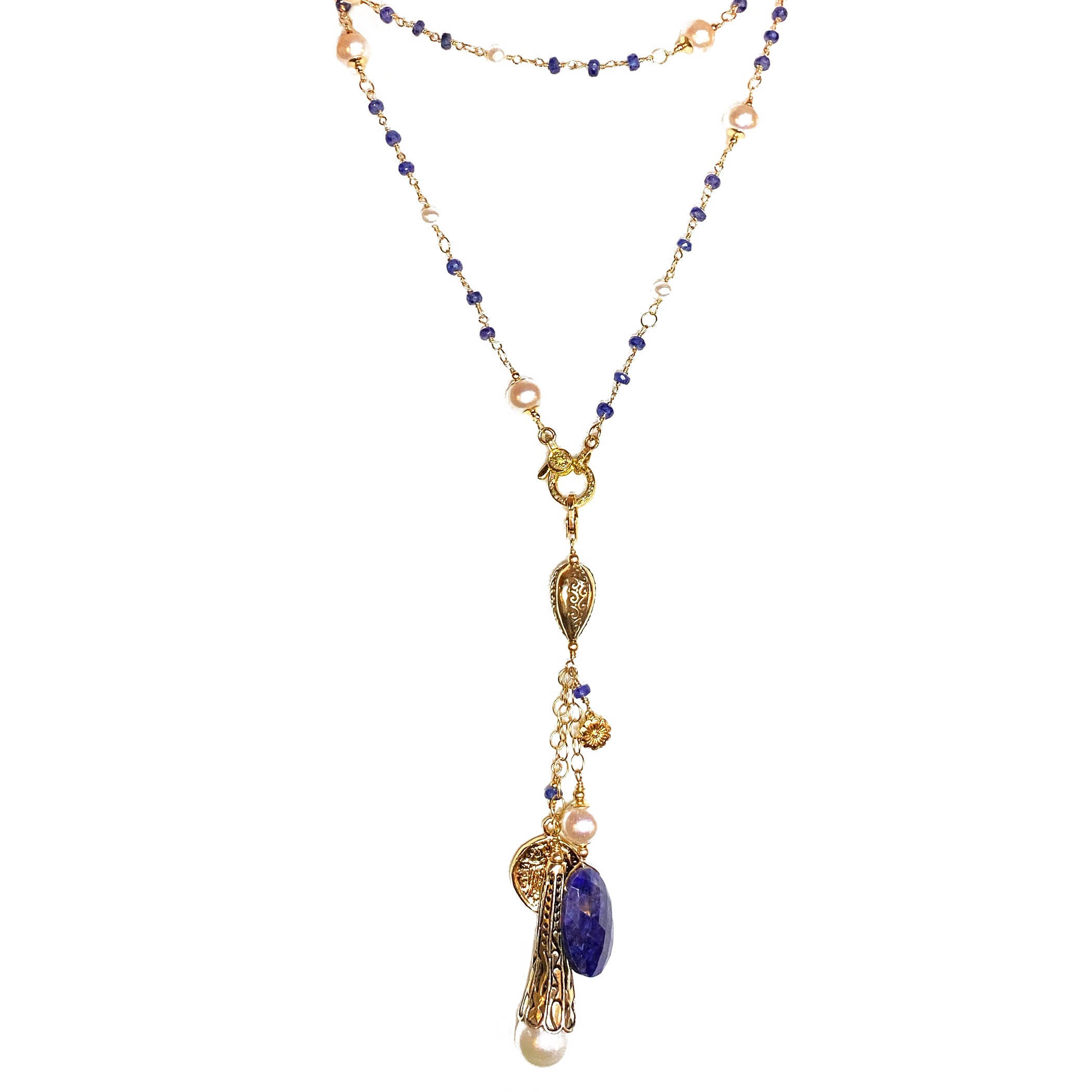 Sapphire and Pearl Long Lariat
