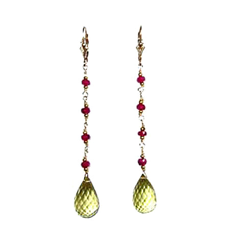 Ruby and lemon topaz Earrings