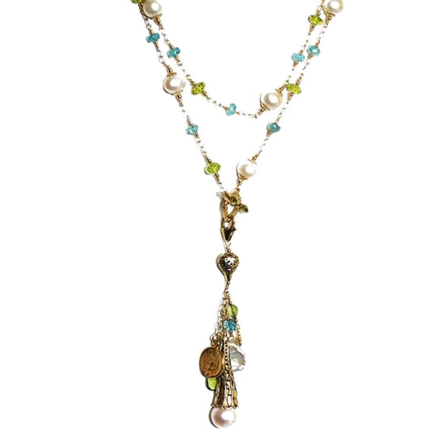 Apatite, Peridot and Pearl Lariat Necklace
