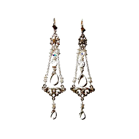 Featured in Modern Bride: Rock Crystal and pearl Earrings in Sterling Silver
