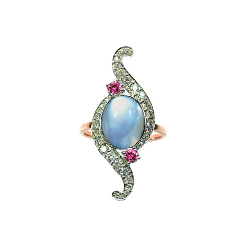 Moonstone, Diamonds and Pink Tourmaline in 14K White and Rose Gold Ring