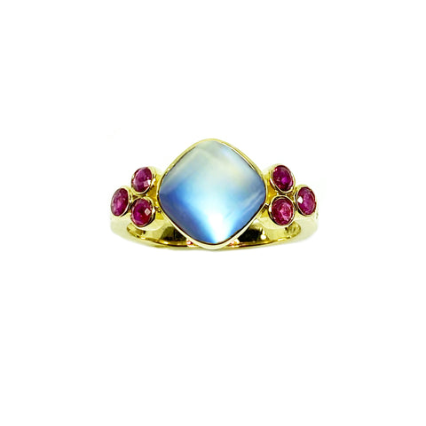 Rubies and Moonstone in 14K Gold