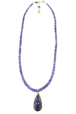Tanzanite Necklace with Iolite and Pave Diamond Pendant