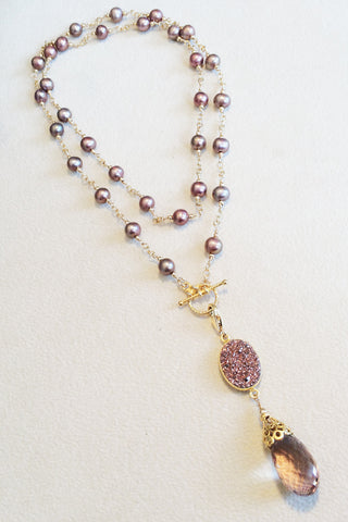 Chocolate Pearl, Druzy, and Ametrine Quartz Necklace