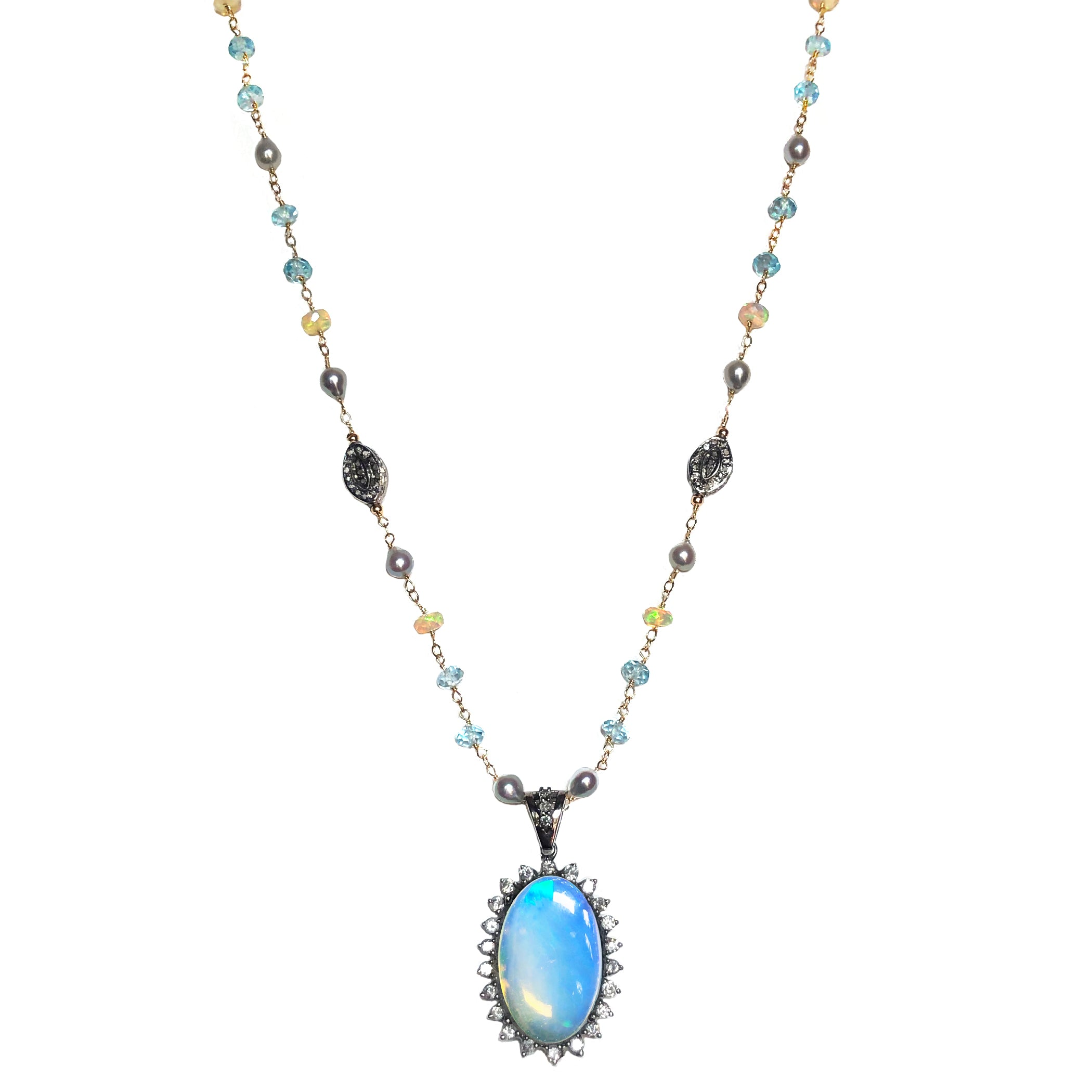 Opal, Diamonds, Blue Topaz, Baroque Japanese Akoya in 14K Gold