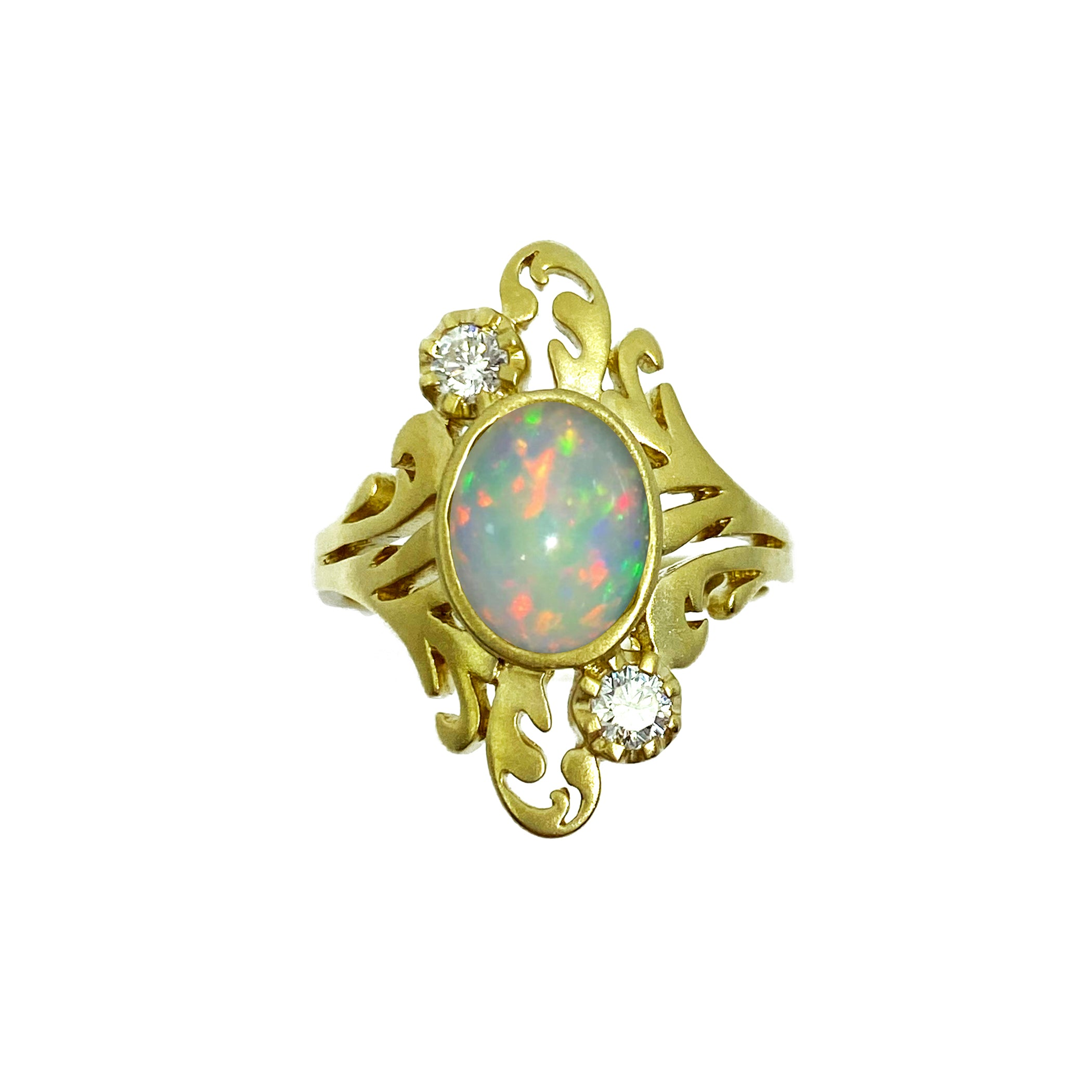 Opal and Diamond Filagree Ring in 14K Matte Gold