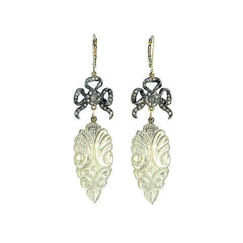 Pave Diamond Bows and Carved Mother-of-Pearl Earrings
