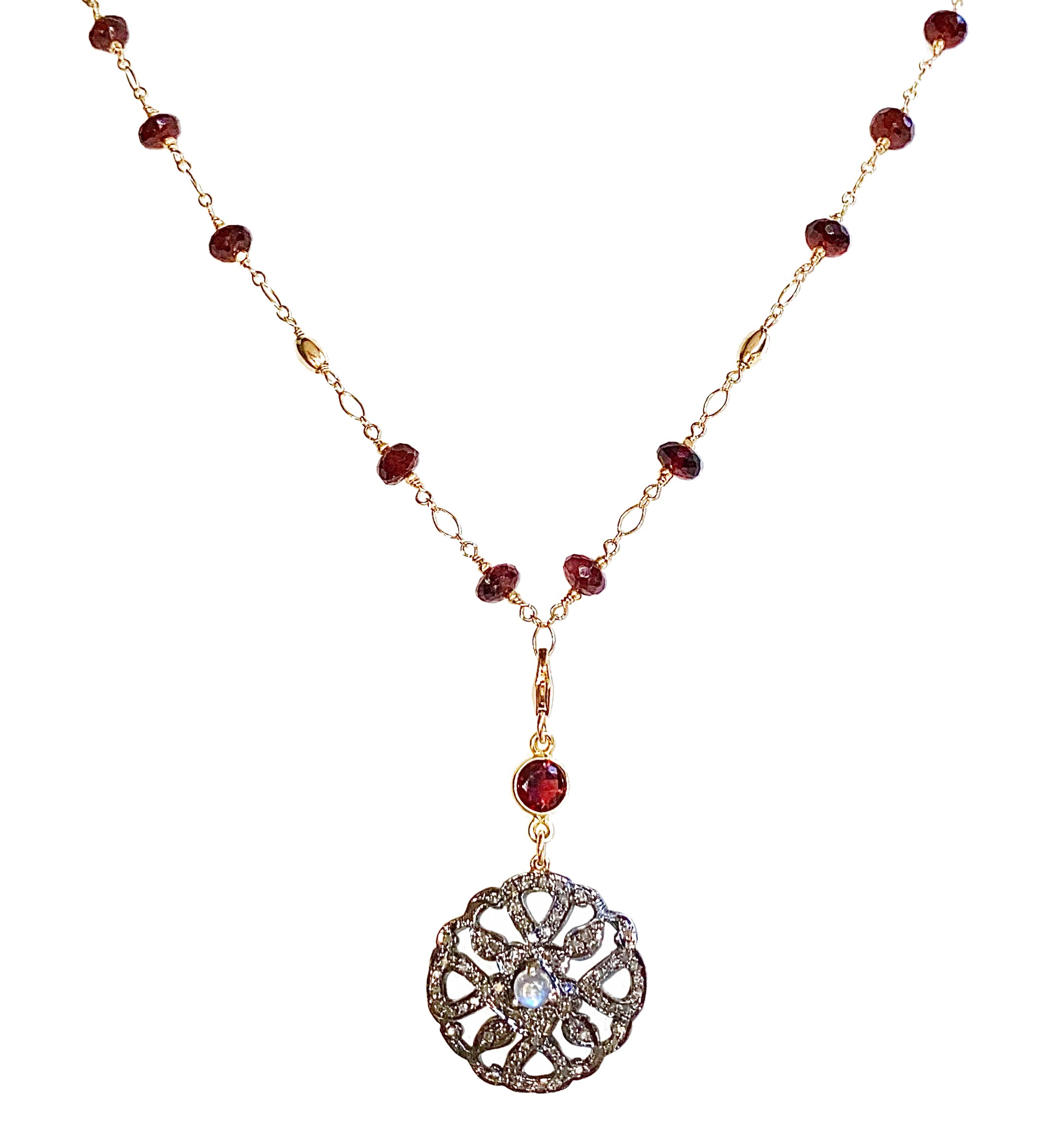 Pave Diamond, Moonstone & Garnet Necklace