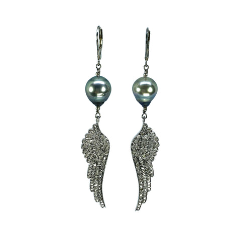 Pave Diamond Angel Wings with Tahitian pearls