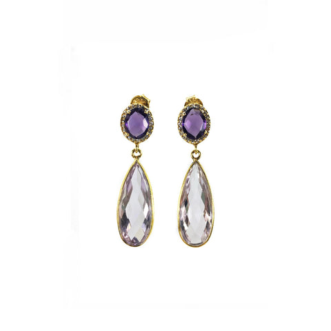 Pink & Purple Amethyst Earrings