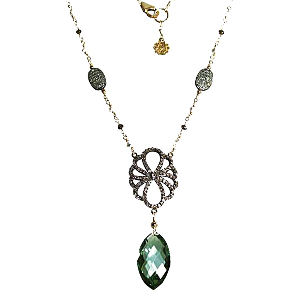 Green Amethyst (Prasiolite) and Diamond Necklace