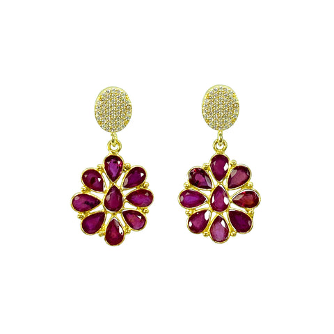 Ruby Flowers with White Topaz