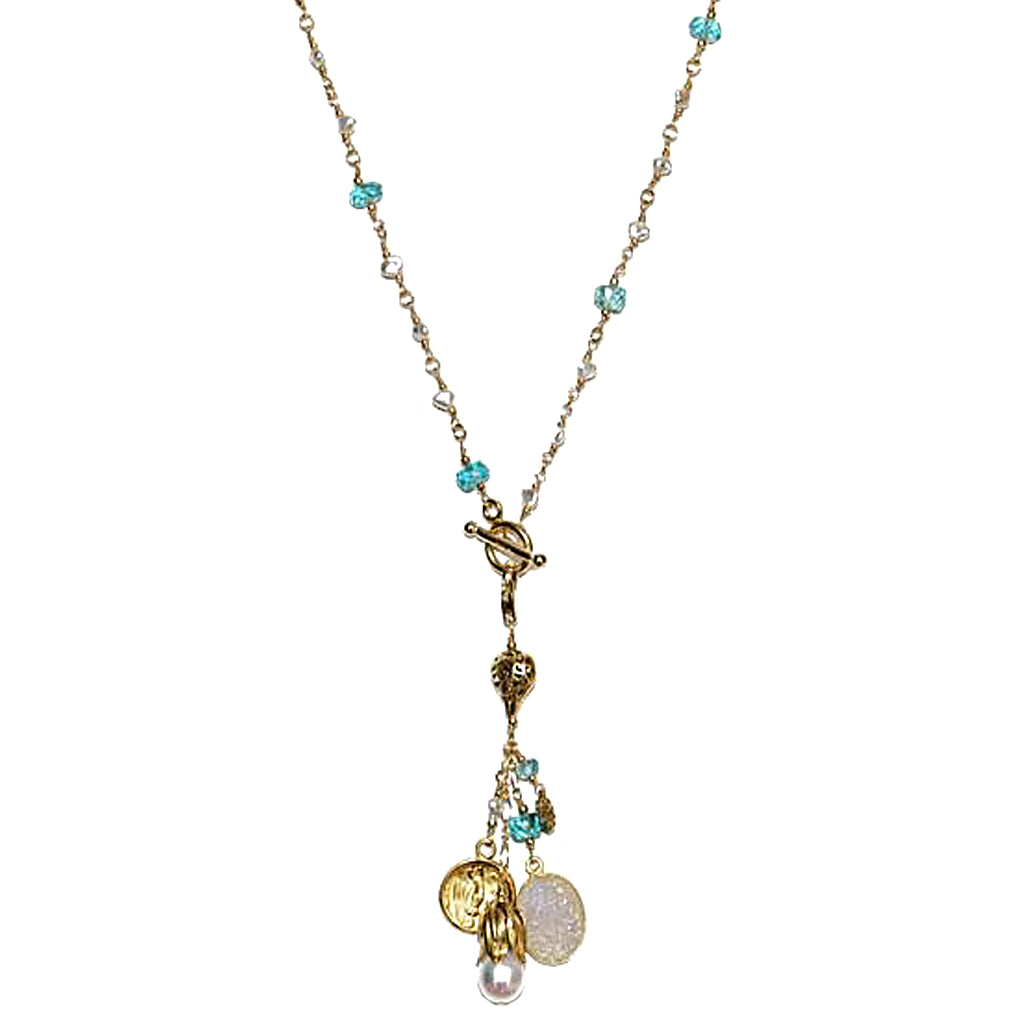 Apatite and Akoya Keshi Pearl Short Lariat Necklace