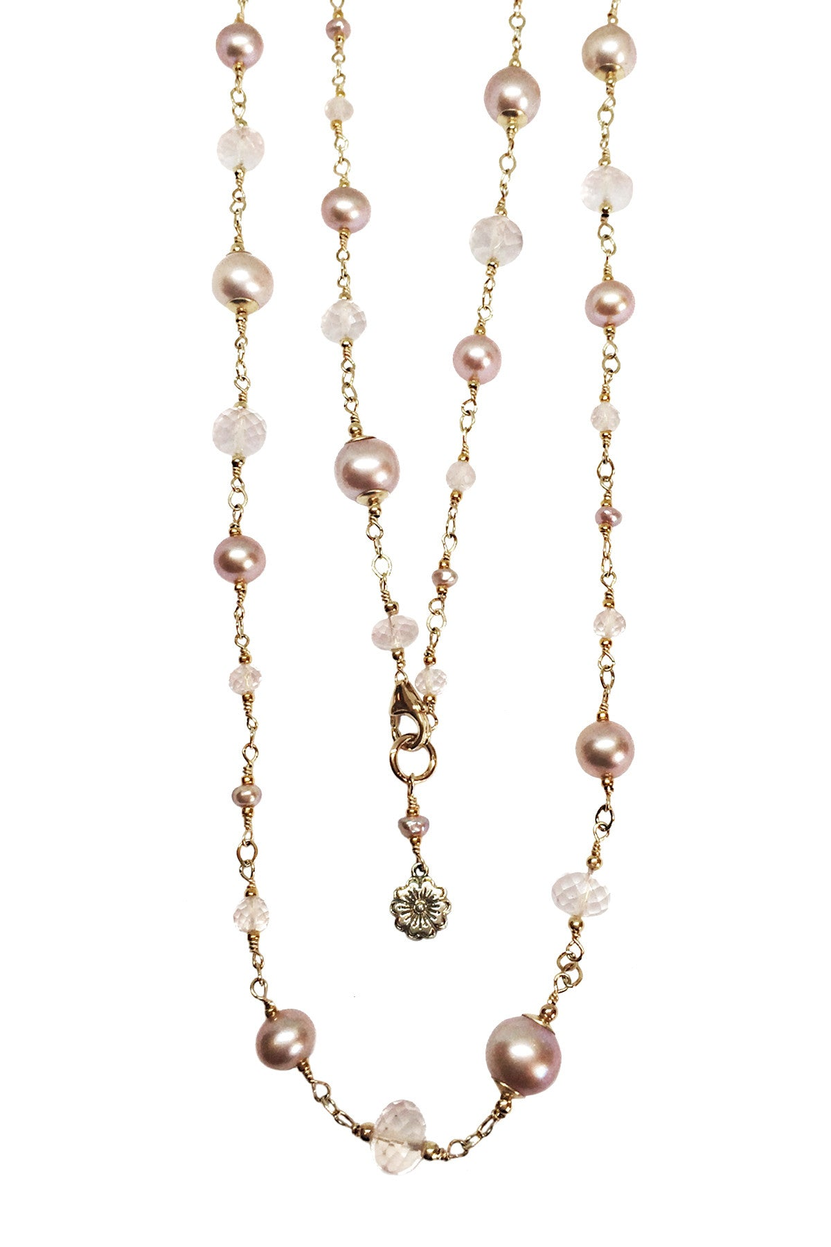 Pearl and rose quartz Station Necklace