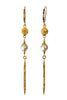 Long Pave Diamond and Pearl Earrings