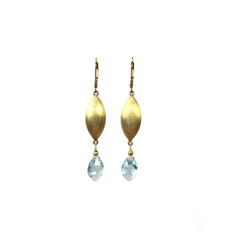 Blue Topaz and Gold Earrings