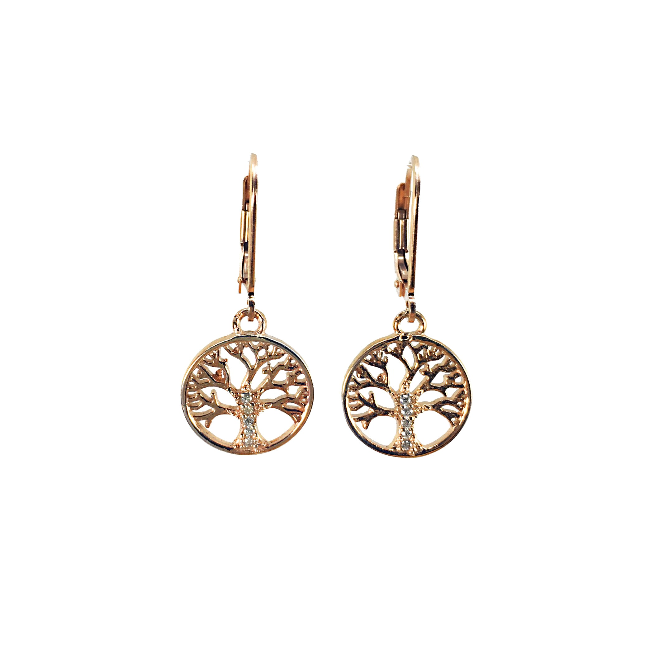 Rose Gold Tree of Life Earrings