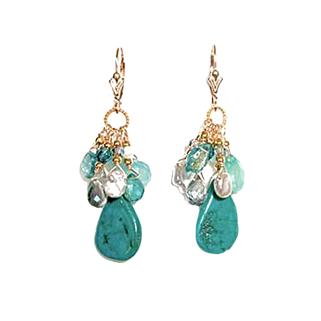 Turquoise, Apatite, Keshi Pearls and Chalcedony Earrings