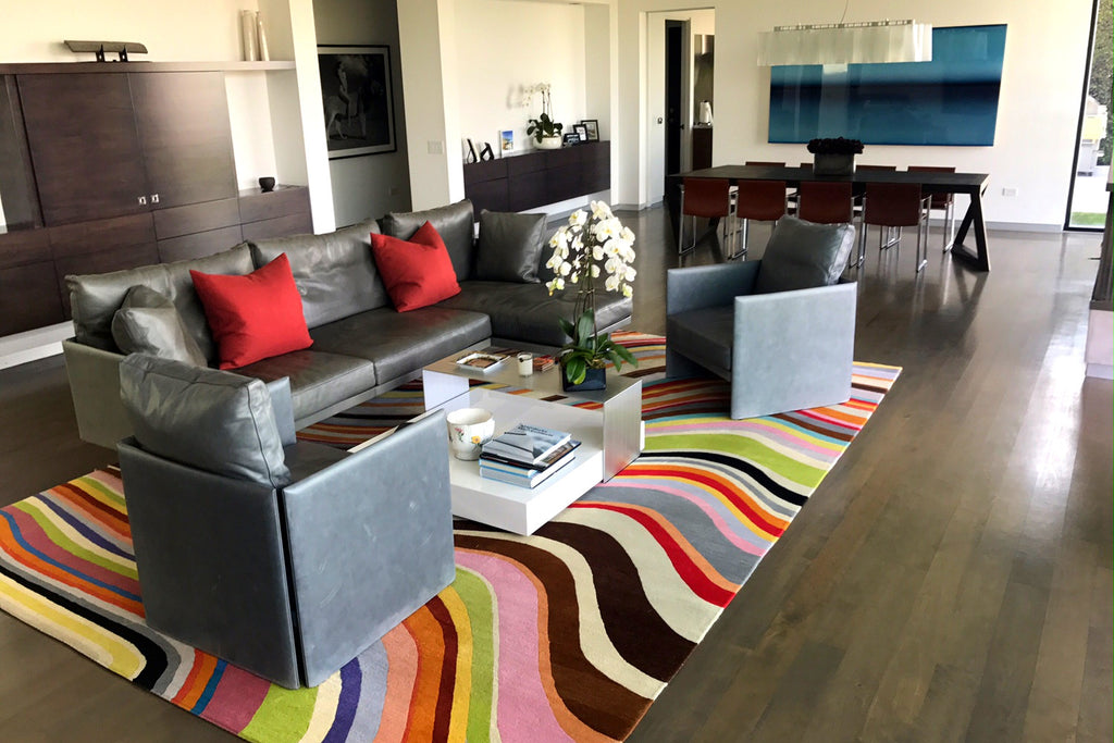 Client Inspiration - Paul Smith Rug Pulls a Living Room Together