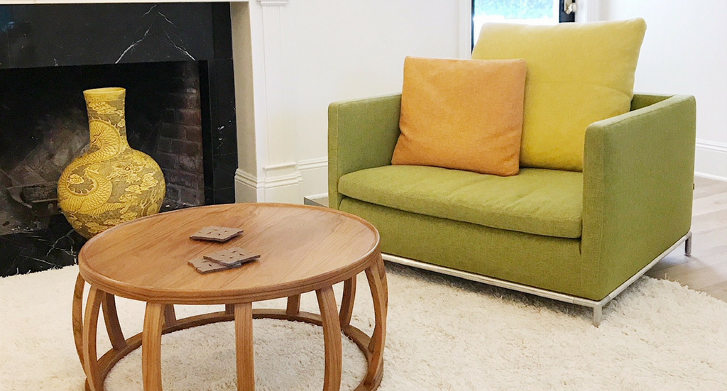 Coffee table and chair by modern resale