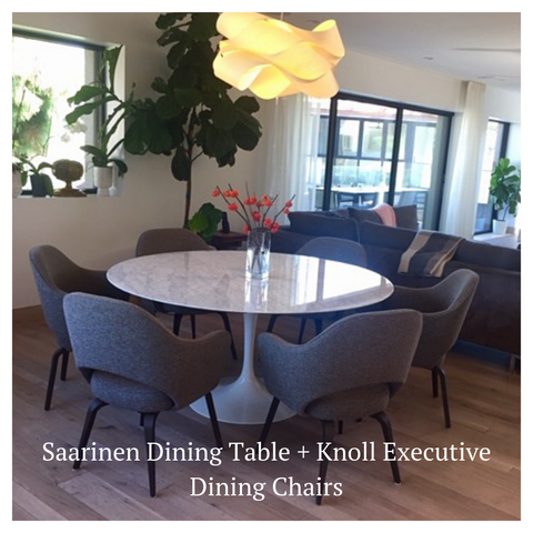 modern resale saarinen table and knoll chairs in client's home