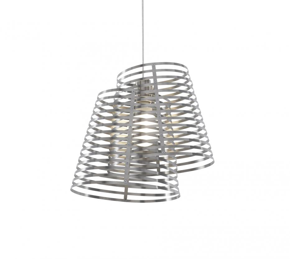 Ligne Roset Stripes Ceiling Light Silver Metal by Philippe Nigro