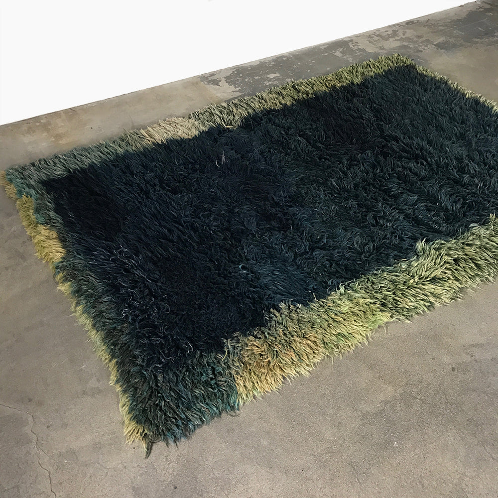Hand Crafted Golran Multi-Colored Mohair Shag Rug