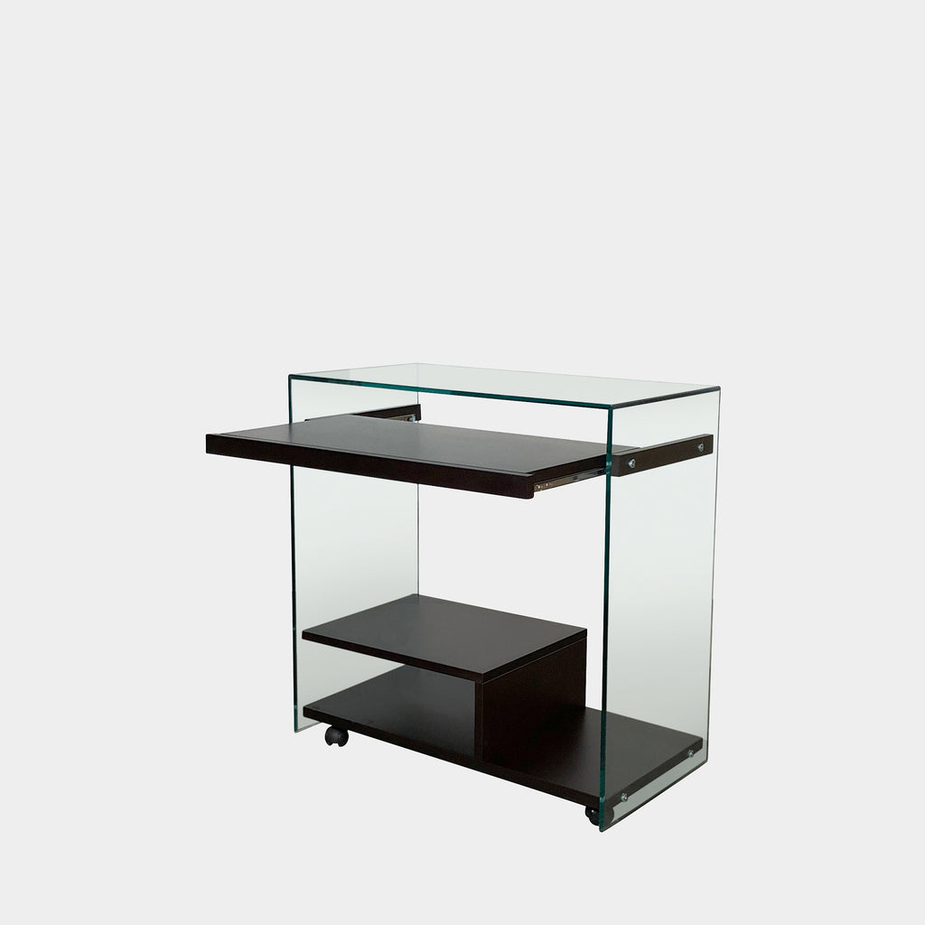 Wood & Glass Rolling Cart, Side Table - Modern Resale