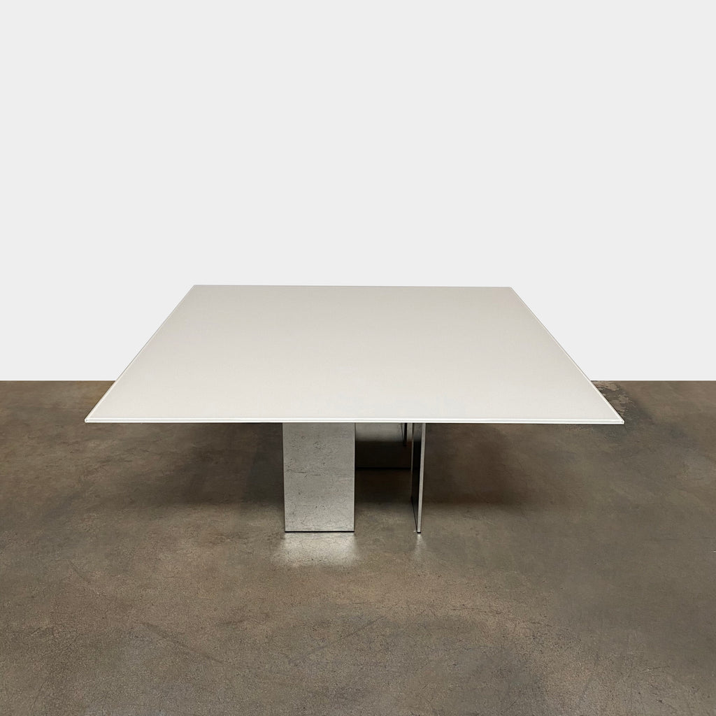 Eyon Square Glass & Steel Dining Table, Dining Table - Modern Resale