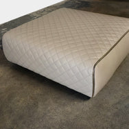 Minotti Ashley Taupe Leather Ottoman by Rodolfo Dordoni