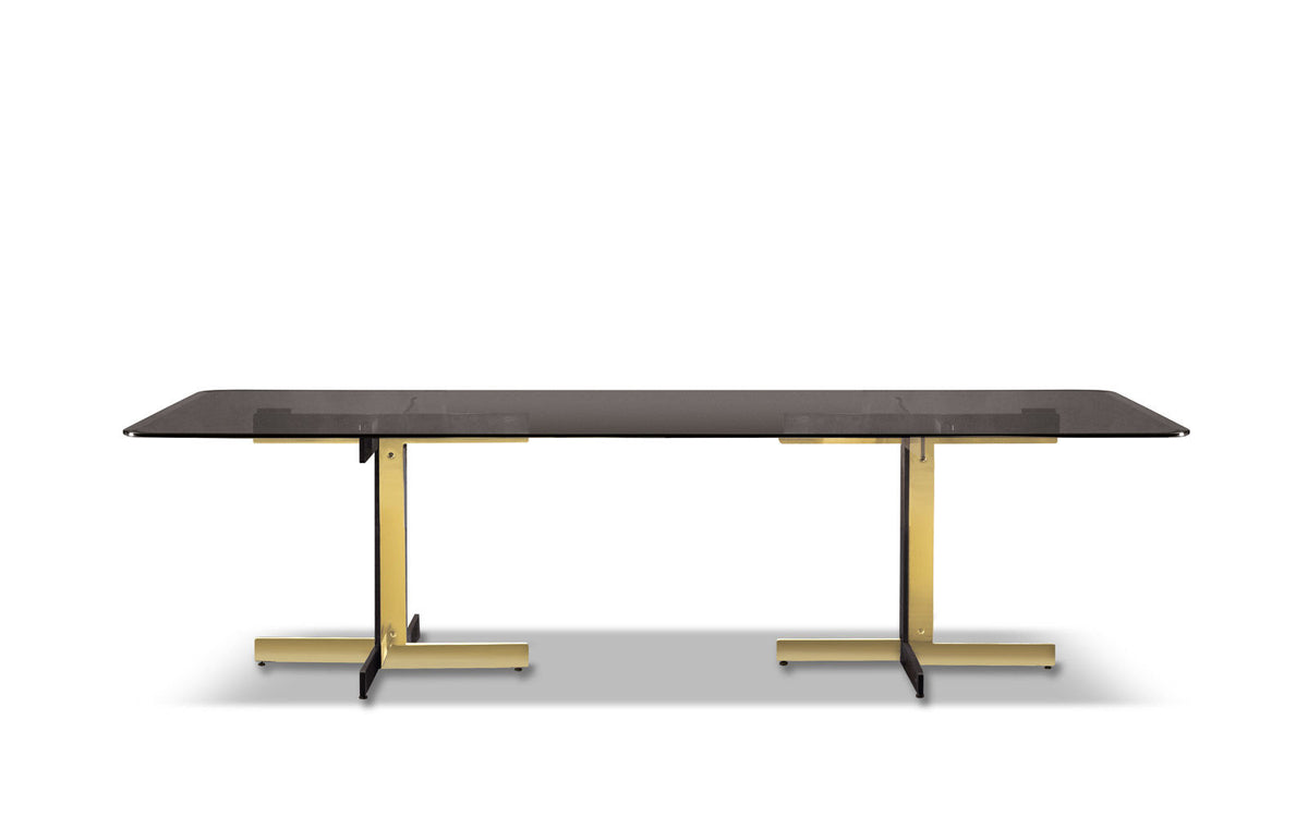 Minotti Gray Smoked Glass Catlin Dining Table by Rodolfo Dordoni