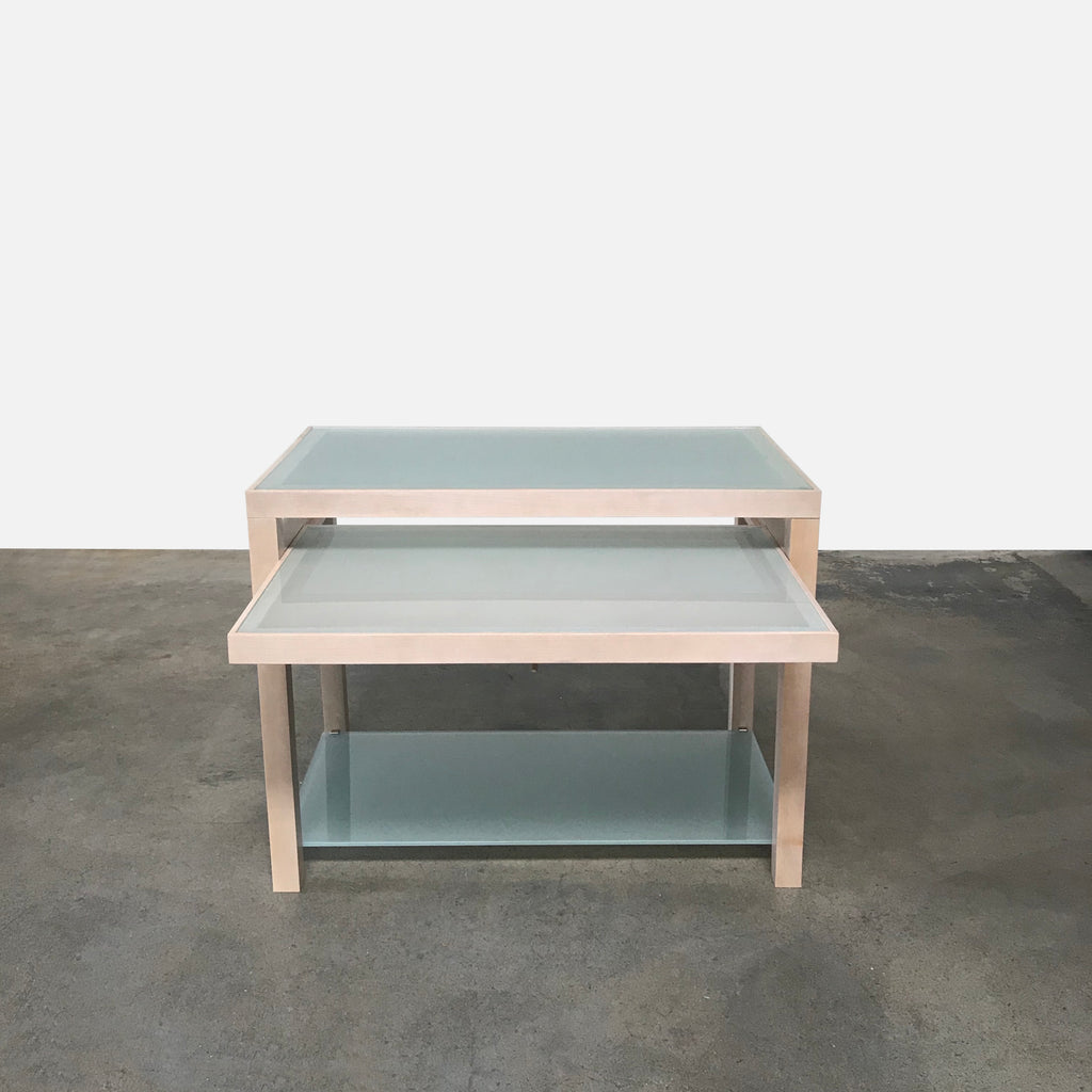 Frosted Glass Occasional Table / Desk, Dining Table - Modern Resale