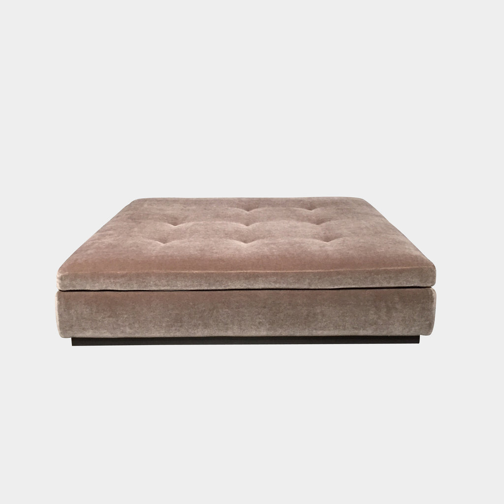 Minotti Andersen Dusted Rose Mohair Tufted Square Ottoman