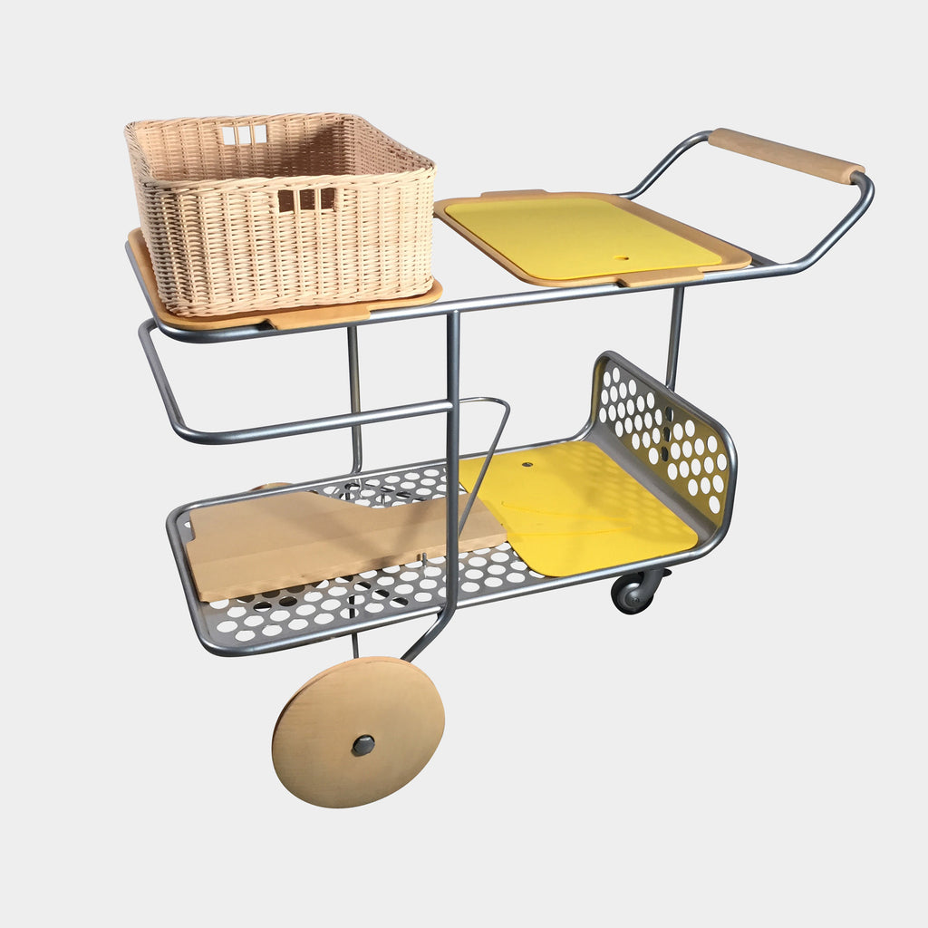 Joe Colombo Yellow Trolley Rolling Cart | Los Angeles Consignment
