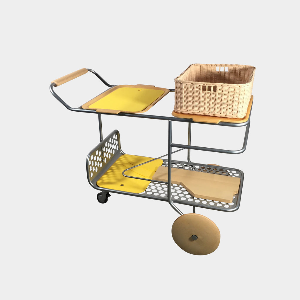 Joe Colombo Yellow Trolley Rolling Cart. Modern Resale Los Angeles Consignment